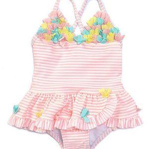 Little Me Baby Girls' 3-D Flowers Striped Swimsuit